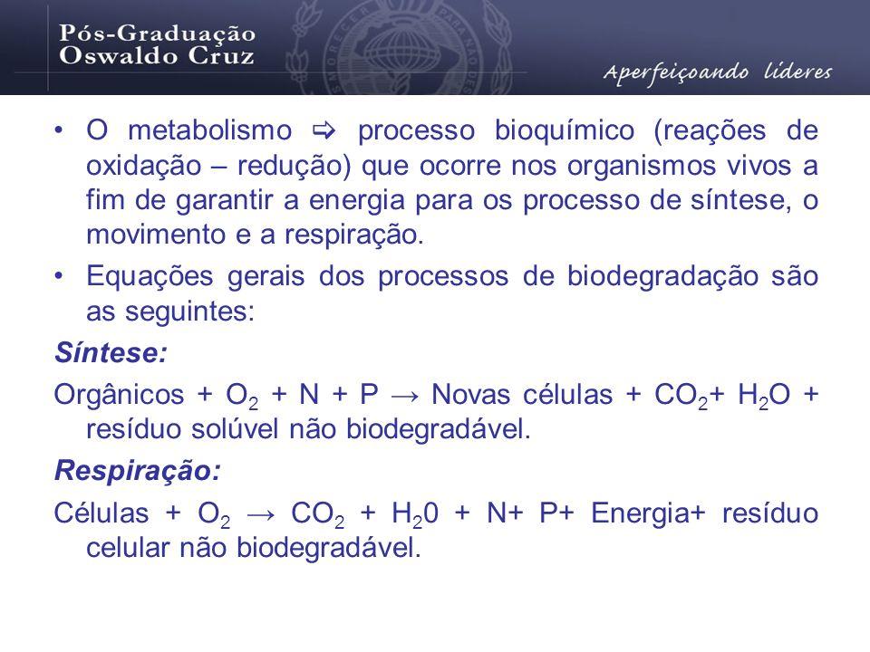 O metabolismo processo bioquímico (reações de oxidação – redução) que ocorre nos organismos vivos a fim de garantir a energia para os processo de sínt