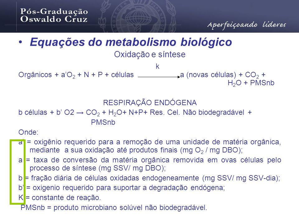 Equações do metabolismo biológico Oxidação e síntese Orgânicos + aO 2 + N + P + células a (novas células) + CO 2 + H 2 O + PMSnb RESPIRAÇÃO ENDÓGENA b