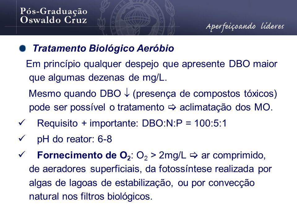 Tratamento Biológico Aeróbio Em princípio qualquer despejo que apresente DBO maior que algumas dezenas de mg/L. Mesmo quando DBO (presença de composto