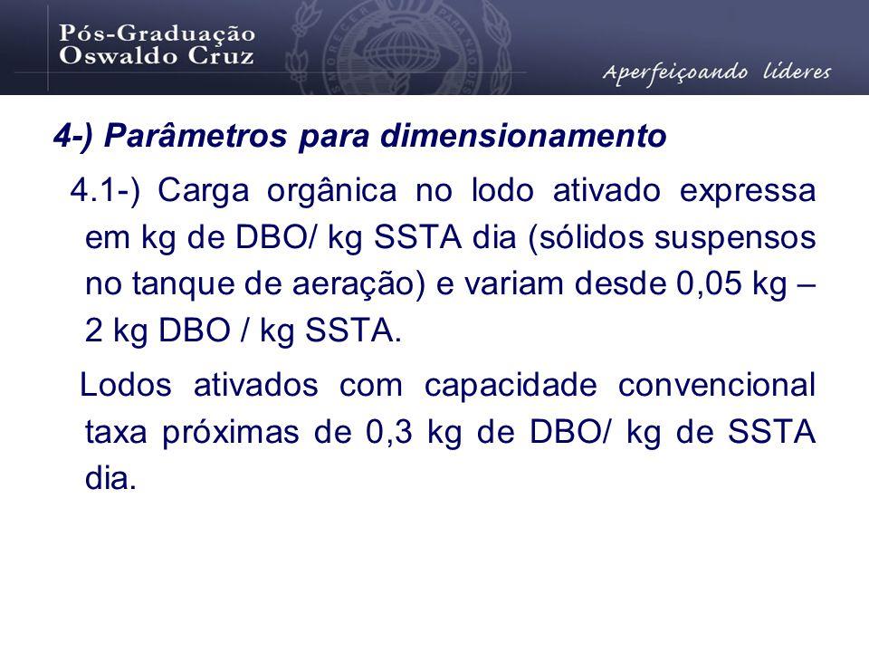 4-) Parâmetros para dimensionamento 4.1-) Carga orgânica no lodo ativado expressa em kg de DBO/ kg SSTA dia (sólidos suspensos no tanque de aeração) e