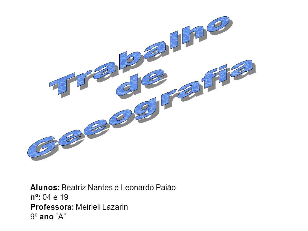 Alunos: Beatriz Nantes e Leonardo Paião nº: 04 e 19 Professora: Meirieli Lazarin 9º ano A