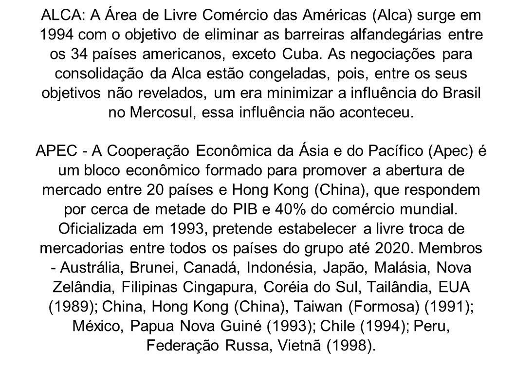ALCA: A Área de Livre Comércio das Américas (Alca) surge em 1994 com o objetivo de eliminar as barreiras alfandegárias entre os 34 países americanos,