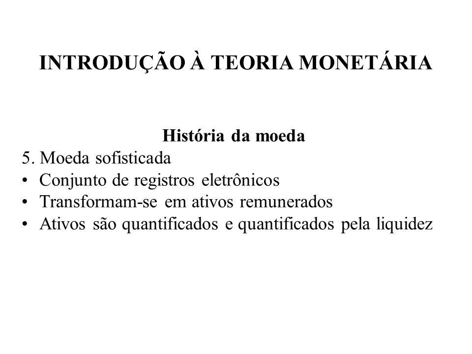 INTRODUÇÃO À TEORIA MONETÁRIA História da moeda 5. Moeda sofisticada Conjunto de registros eletrônicos Transformam-se em ativos remunerados Ativos são