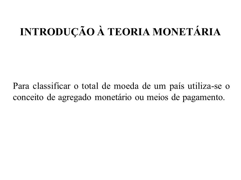 INTRODUÇÃO À TEORIA MONETÁRIA Para classificar o total de moeda de um país utiliza-se o conceito de agregado monetário ou meios de pagamento.