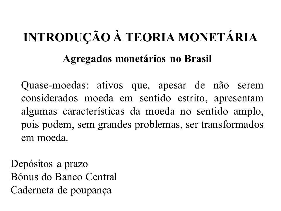 INTRODUÇÃO À TEORIA MONETÁRIA Agregados monetários no Brasil Quase-moedas: ativos que, apesar de não serem considerados moeda em sentido estrito, apre