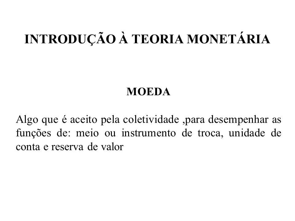 INTRODUÇÃO À TEORIA MONETÁRIA Agregados monetários no Brasil Quase-moedas: ativos que, apesar de não serem considerados moeda em sentido estrito, apresentam algumas características da moeda no sentido amplo, pois podem, sem grandes problemas, ser transformados em moeda.
