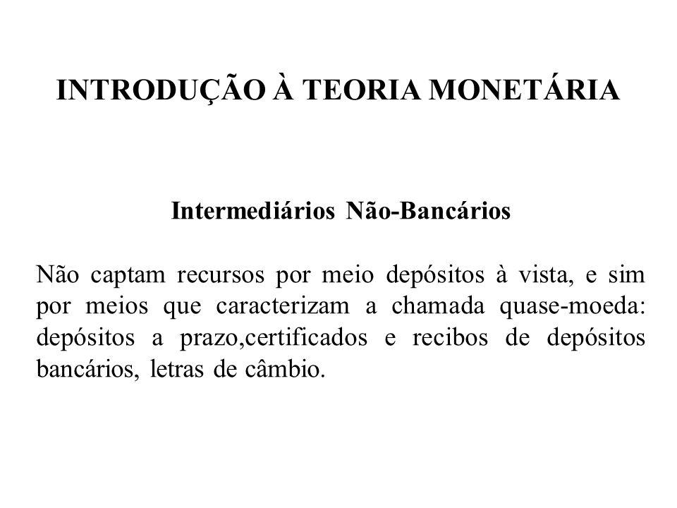 INTRODUÇÃO À TEORIA MONETÁRIA Intermediários Não-Bancários Não captam recursos por meio depósitos à vista, e sim por meios que caracterizam a chamada