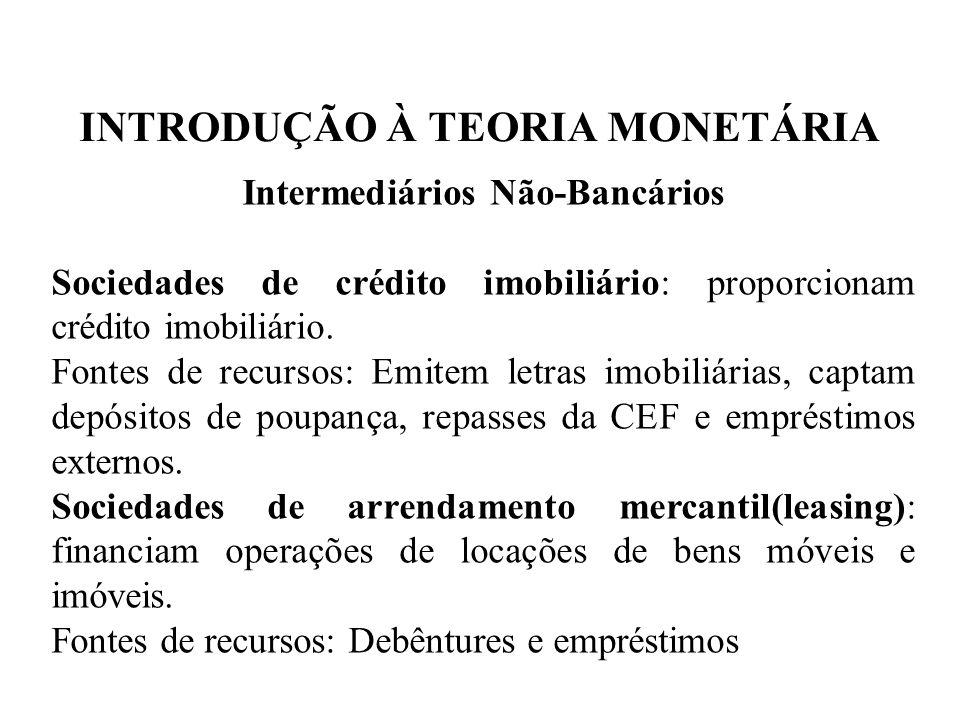 INTRODUÇÃO À TEORIA MONETÁRIA Intermediários Não-Bancários Sociedades de crédito imobiliário: proporcionam crédito imobiliário. Fontes de recursos: Em