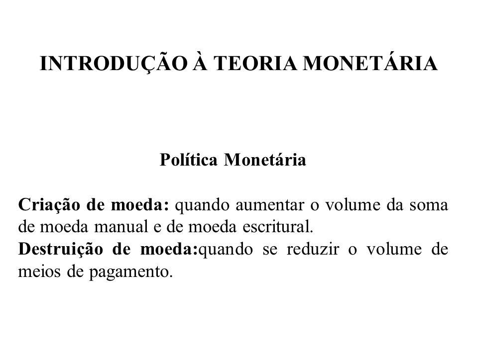 INTRODUÇÃO À TEORIA MONETÁRIA Política Monetária Criação de moeda: quando aumentar o volume da soma de moeda manual e de moeda escritural. Destruição