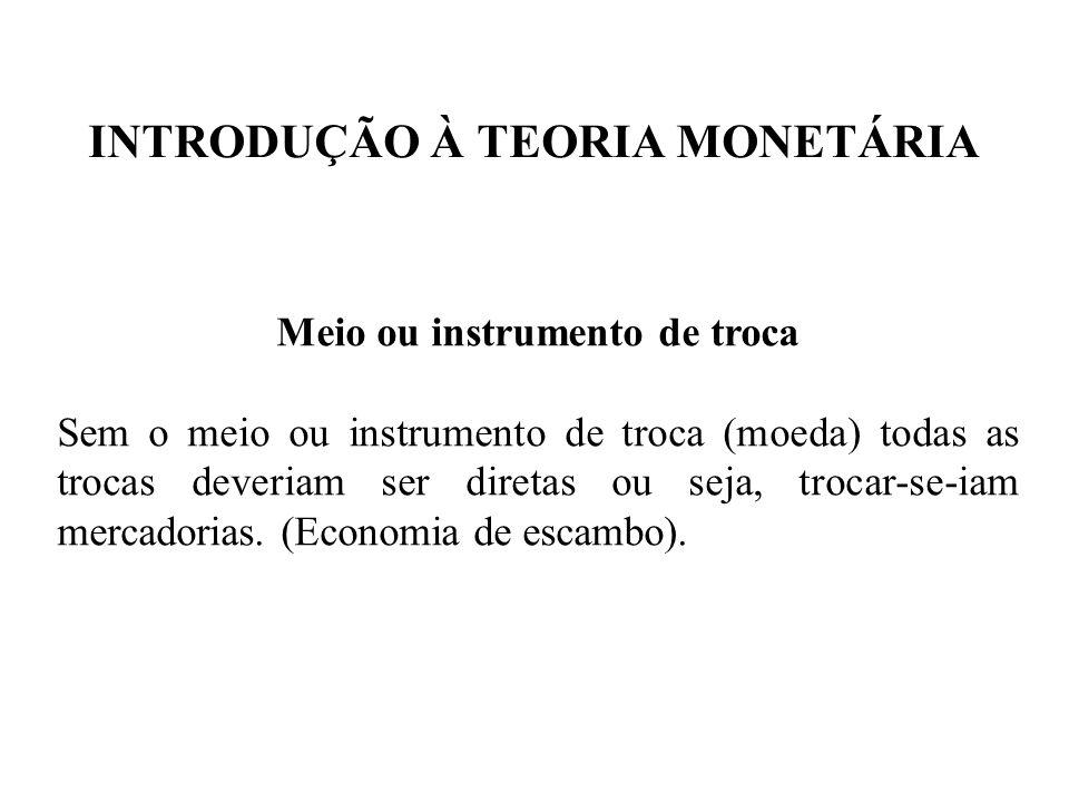 INTRODUÇÃO À TEORIA MONETÁRIA Meio ou instrumento de troca Sem o meio ou instrumento de troca (moeda) todas as trocas deveriam ser diretas ou seja, tr