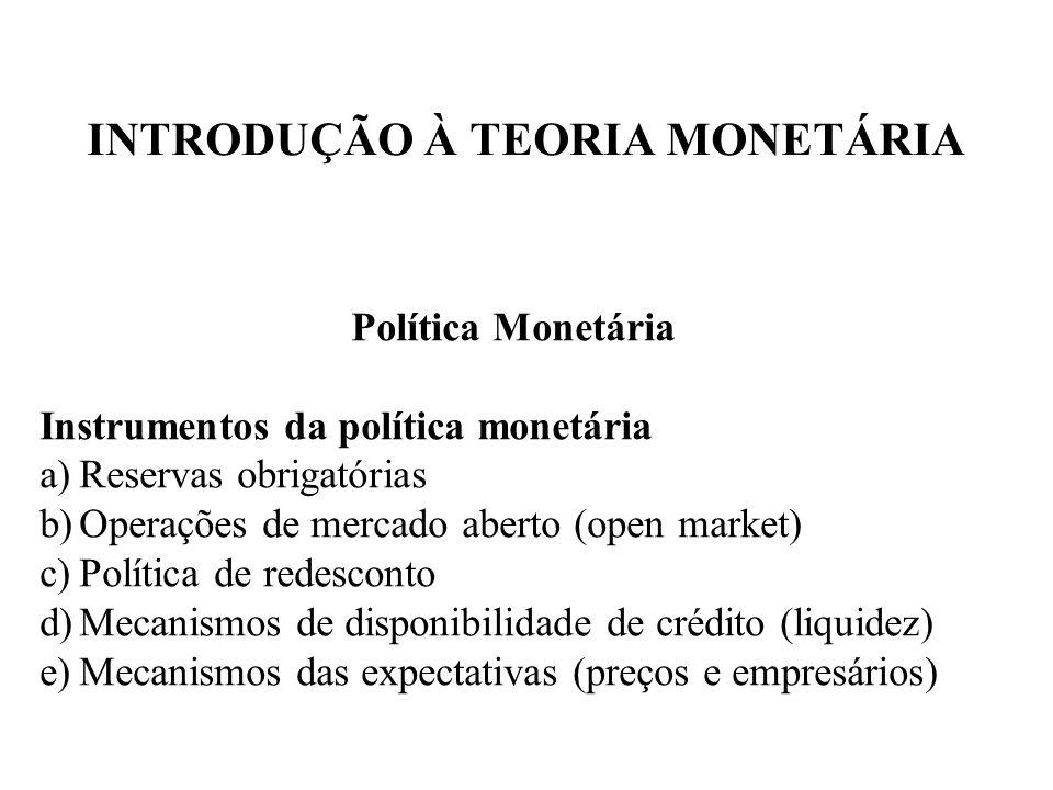 INTRODUÇÃO À TEORIA MONETÁRIA Política Monetária Instrumentos da política monetária a)Reservas obrigatórias b)Operações de mercado aberto (open market