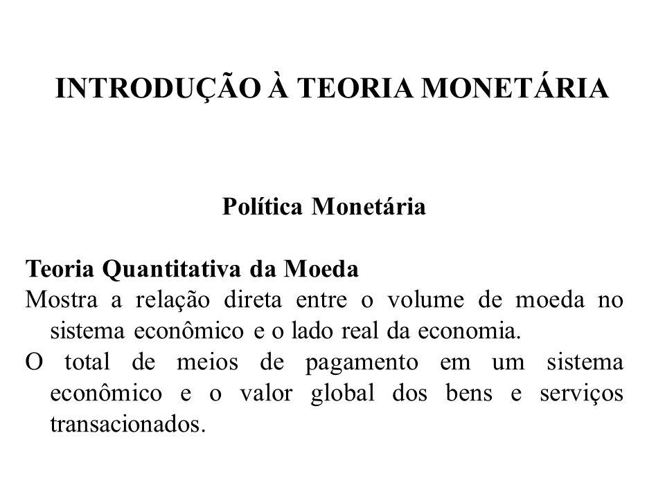 INTRODUÇÃO À TEORIA MONETÁRIA Política Monetária Teoria Quantitativa da Moeda Mostra a relação direta entre o volume de moeda no sistema econômico e o
