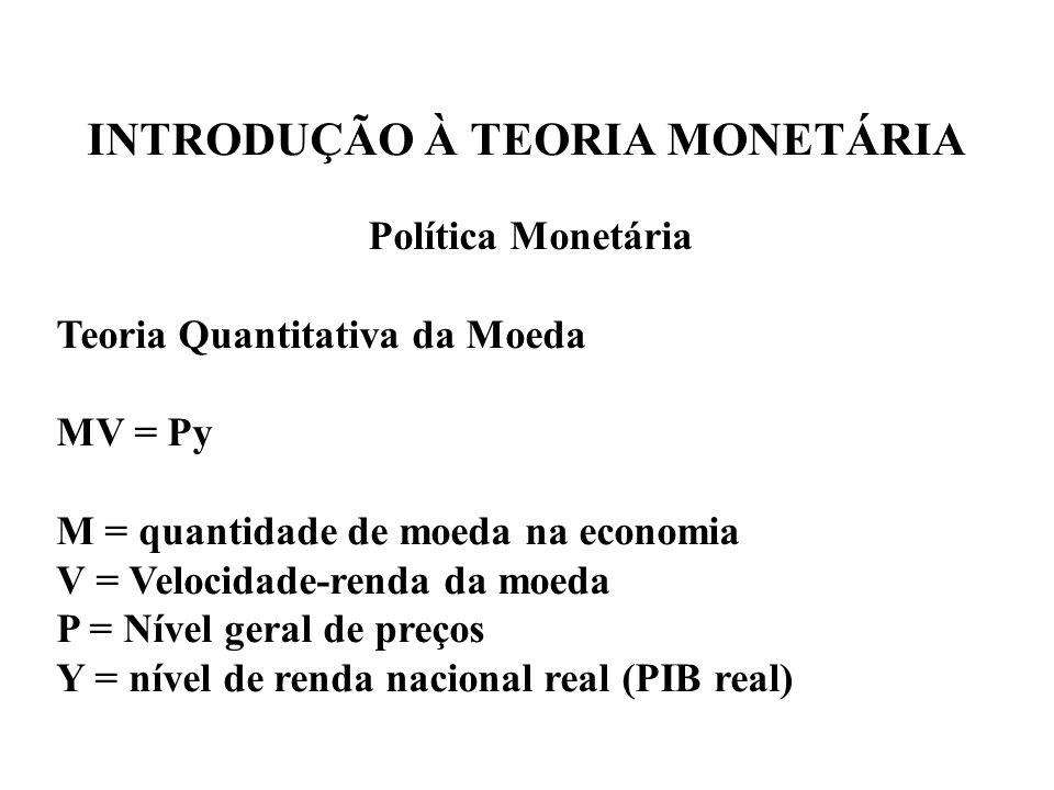 INTRODUÇÃO À TEORIA MONETÁRIA Política Monetária Teoria Quantitativa da Moeda MV = Py M = quantidade de moeda na economia V = Velocidade-renda da moed