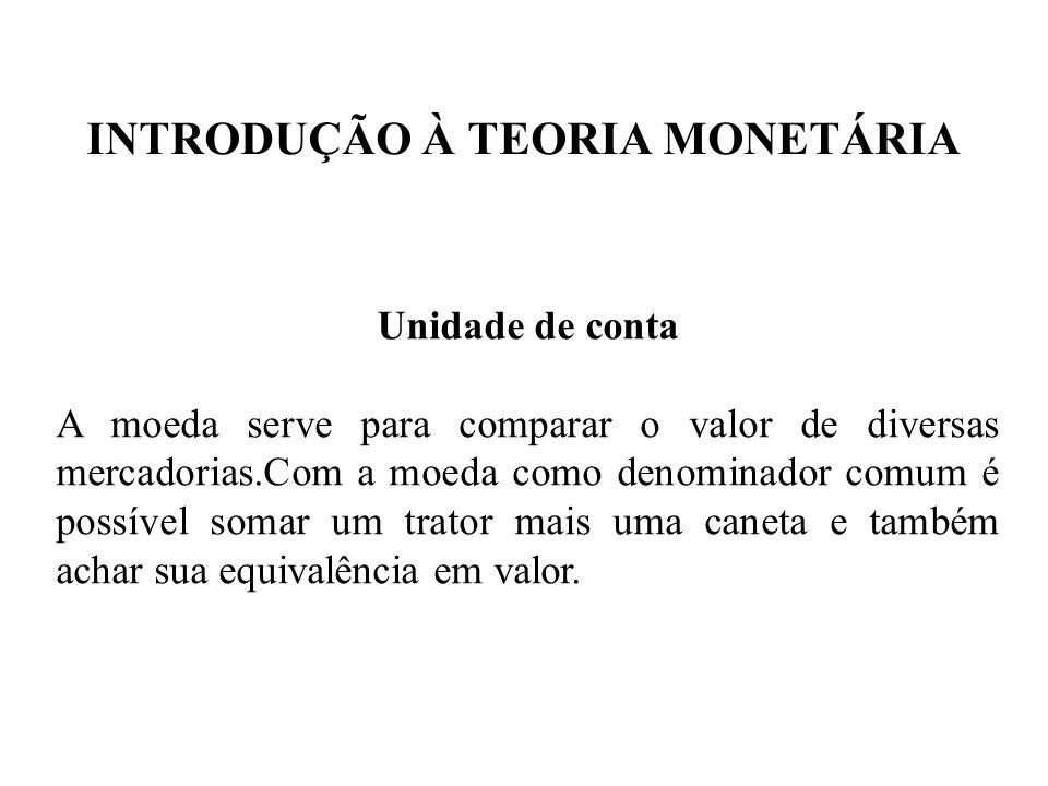 INTRODUÇÃO À TEORIA MONETÁRIA Unidade de conta A moeda serve para comparar o valor de diversas mercadorias.Com a moeda como denominador comum é possív