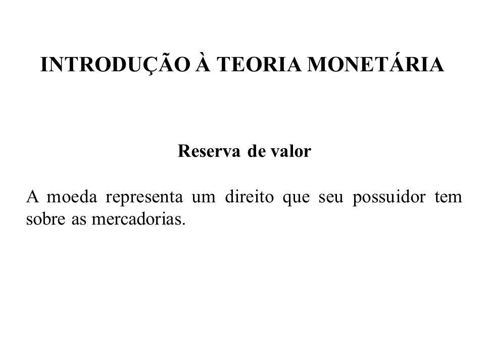 INTRODUÇÃO À TEORIA MONETÁRIA Reserva de valor A moeda representa um direito que seu possuidor tem sobre as mercadorias.