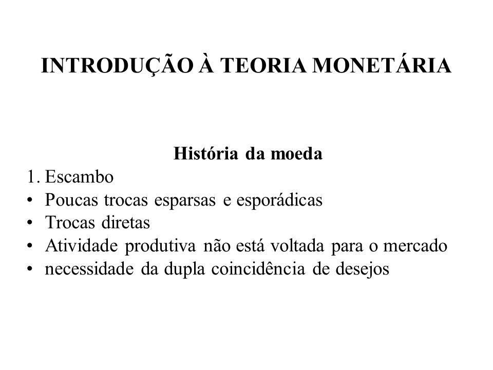 INTRODUÇÃO À TEORIA MONETÁRIA História da moeda 1.Escambo Poucas trocas esparsas e esporádicas Trocas diretas Atividade produtiva não está voltada par