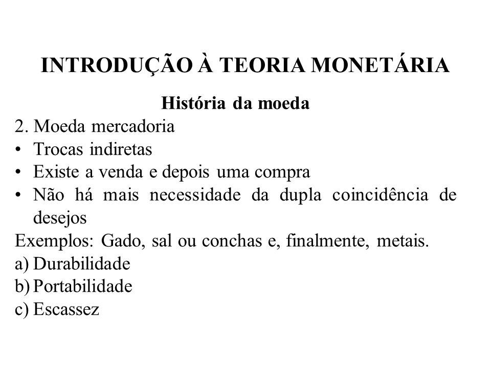INTRODUÇÃO À TEORIA MONETÁRIA História da moeda 3.