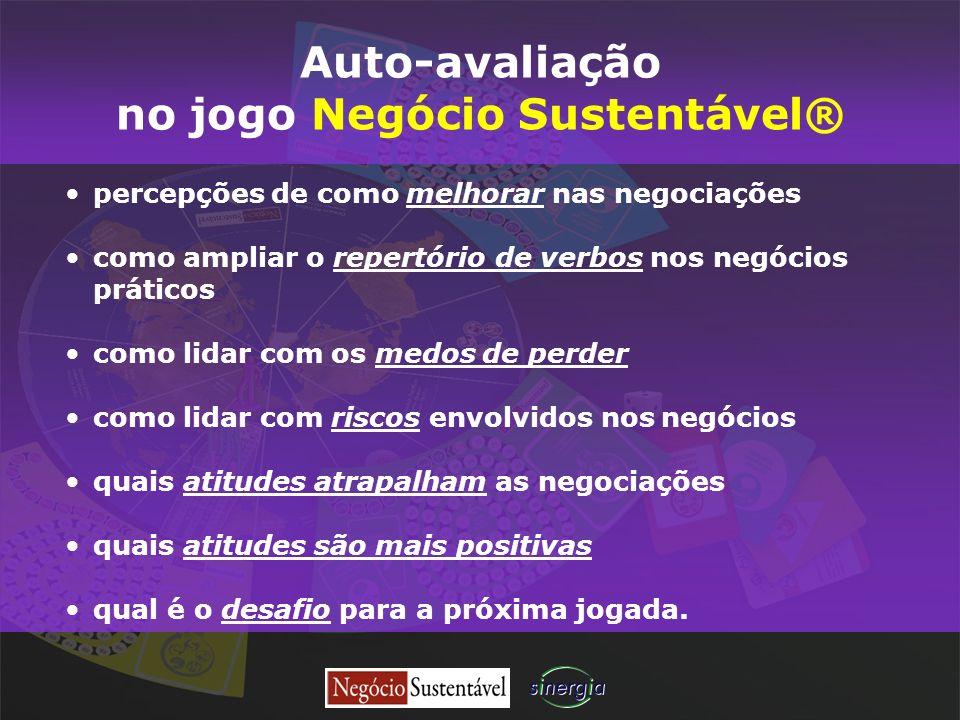 Auto-avaliação no jogo Negócio Sustentável® percepções de como melhorar nas negociações como ampliar o repertório de verbos nos negócios práticos como