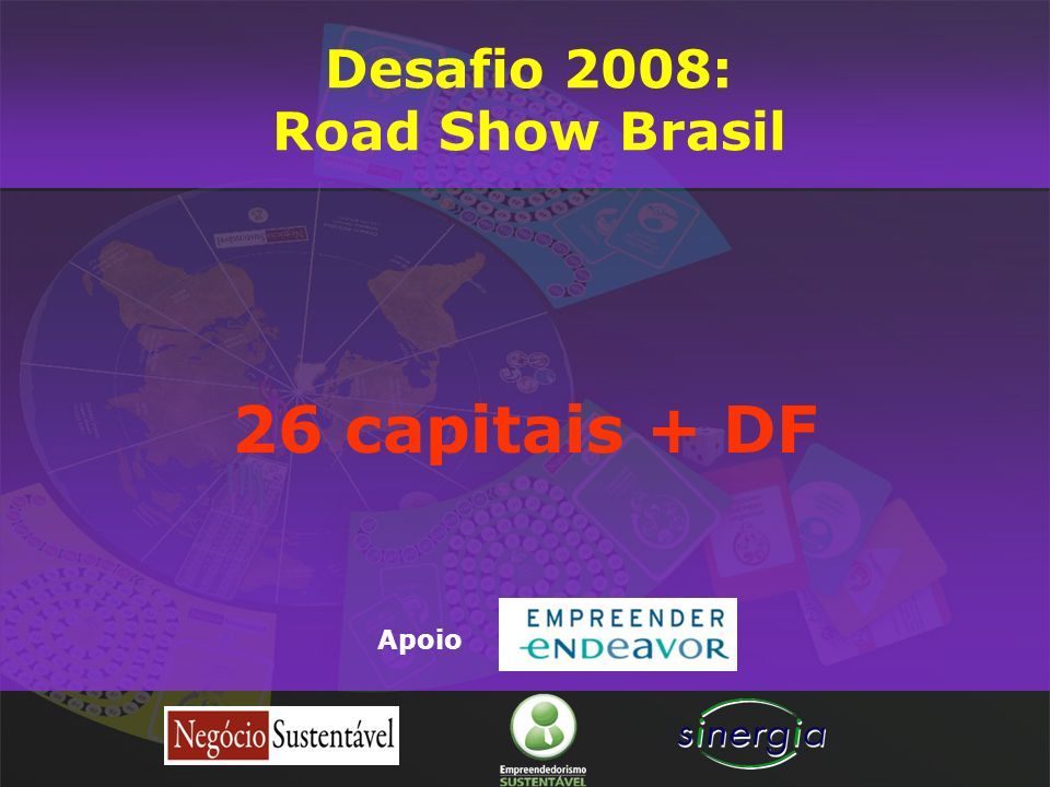 26 capitais + DF Apoio Desafio 2008: Road Show Brasil