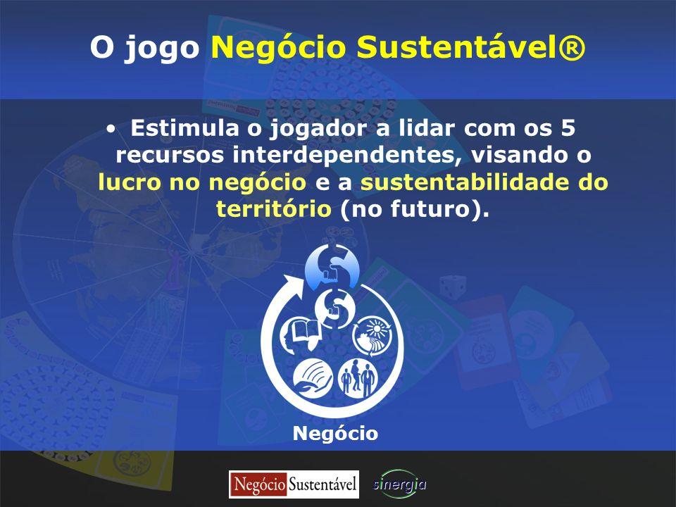 O jogo Negócio Sustentável® Estimula o jogador a lidar com os 5 recursos interdependentes, visando o lucro no negócio e a sustentabilidade do territór