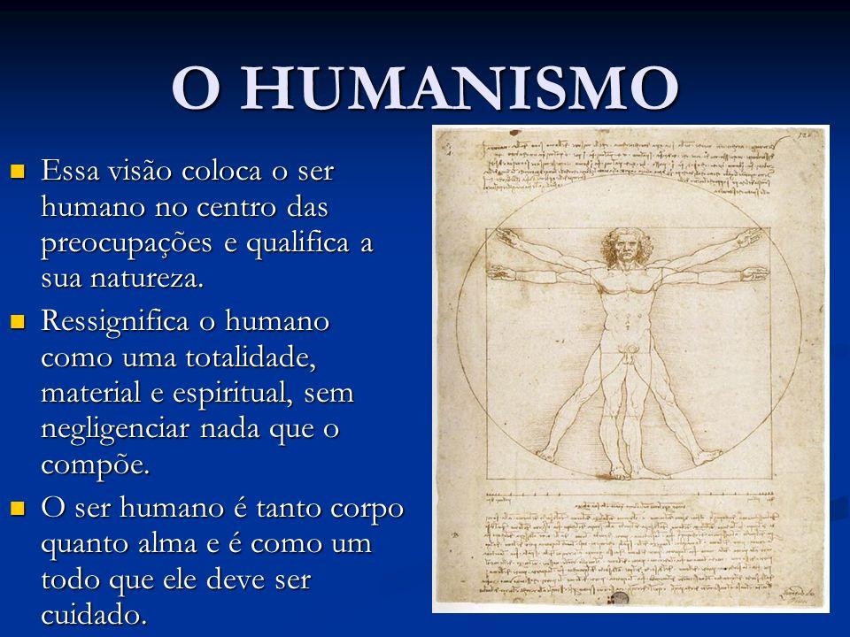 O HUMANISMO Essa visão coloca o ser humano no centro das preocupações e qualifica a sua natureza. Essa visão coloca o ser humano no centro das preocup