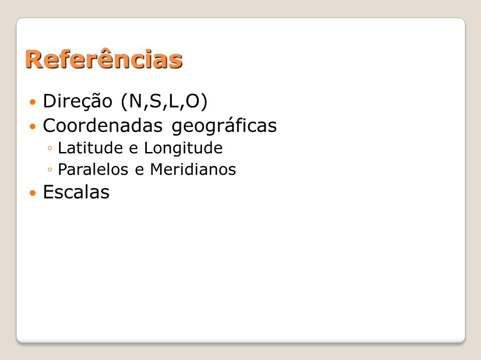 Referências Direção (N,S,L,O) Coordenadas geográficas Latitude e Longitude Paralelos e Meridianos Escalas