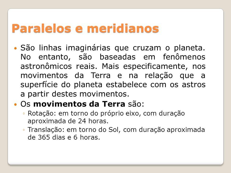 Paralelos e meridianos São linhas imaginárias que cruzam o planeta. No entanto, são baseadas em fenômenos astronômicos reais. Mais especificamente, no