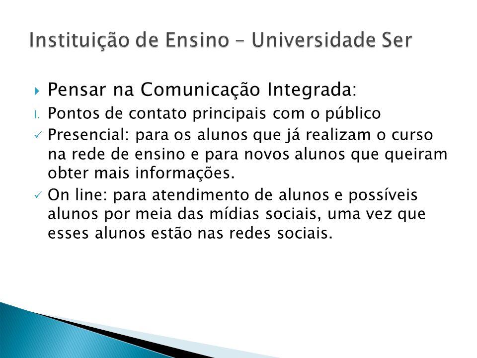 Pensar na Comunicação Integrada: I. Pontos de contato principais com o público Presencial: para os alunos que já realizam o curso na rede de ensino e