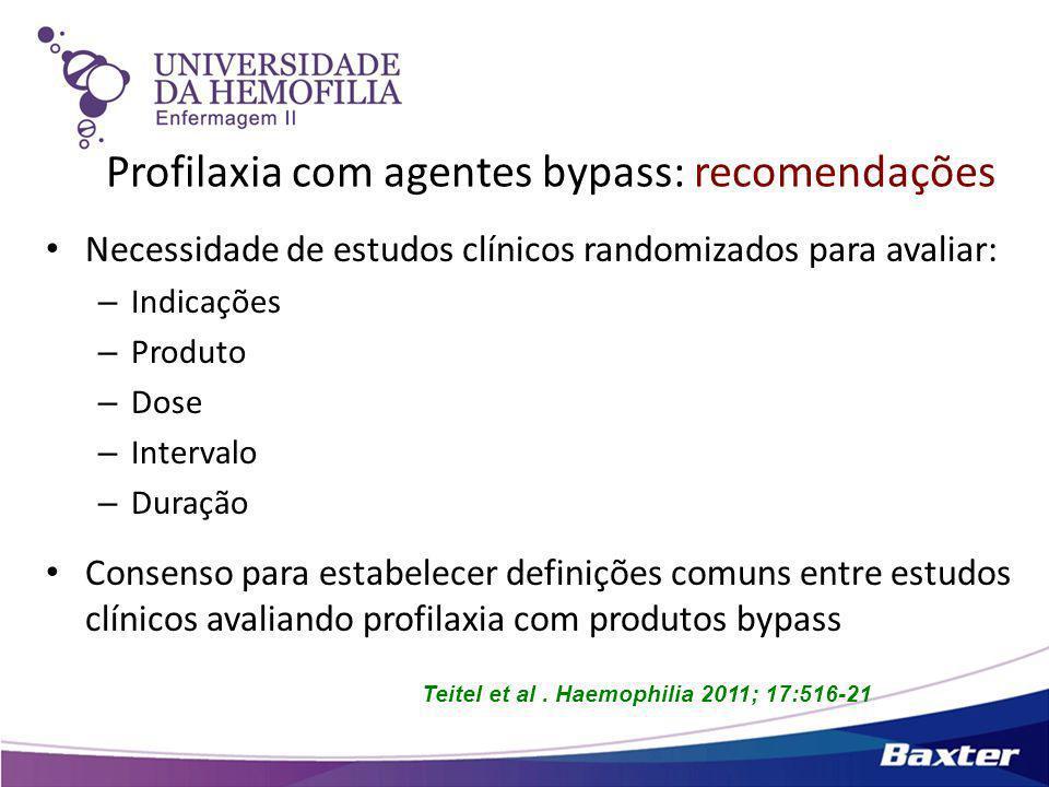 Teitel et al. Haemophilia 2011; 17:516-21 Profilaxia com agentes bypass: recomendações Necessidade de estudos clínicos randomizados para avaliar: – In