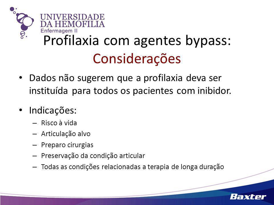 Profilaxia com agentes bypass: Considerações Dados não sugerem que a profilaxia deva ser instituída para todos os pacientes com inibidor. Indicações: