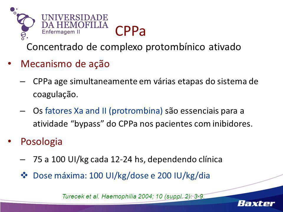 Meta-análise Estudos de profilaxia com FEIBA ® ReferênciaDados pacientes Uso FEIBA ® Resultado da Hemostasia Valentino34 sHA (3-39 anos) Pico inibidor 8-8000 BU Dose média 78.5 U/Kg (range 50-100) 1x/dia ou 1x/semana Período médio 2.3 anos (0.1-6 anos) 57% redução freq de sangramentos 76% redução de hemartroses Nenhum evento trombótico DiMichele & Négrier 14 sHA (3-61 anos) Pico inibidor 26-709 BU Dose média 69 U/Kg (range 15-100) 1x/dia ou 1x/semana ou dias alternados Período médio 19.5 meses (0.25-26 m) 53% redução média dos sangramentos (range 10-85) Nenhum evento trombótico ou evento adverso.
