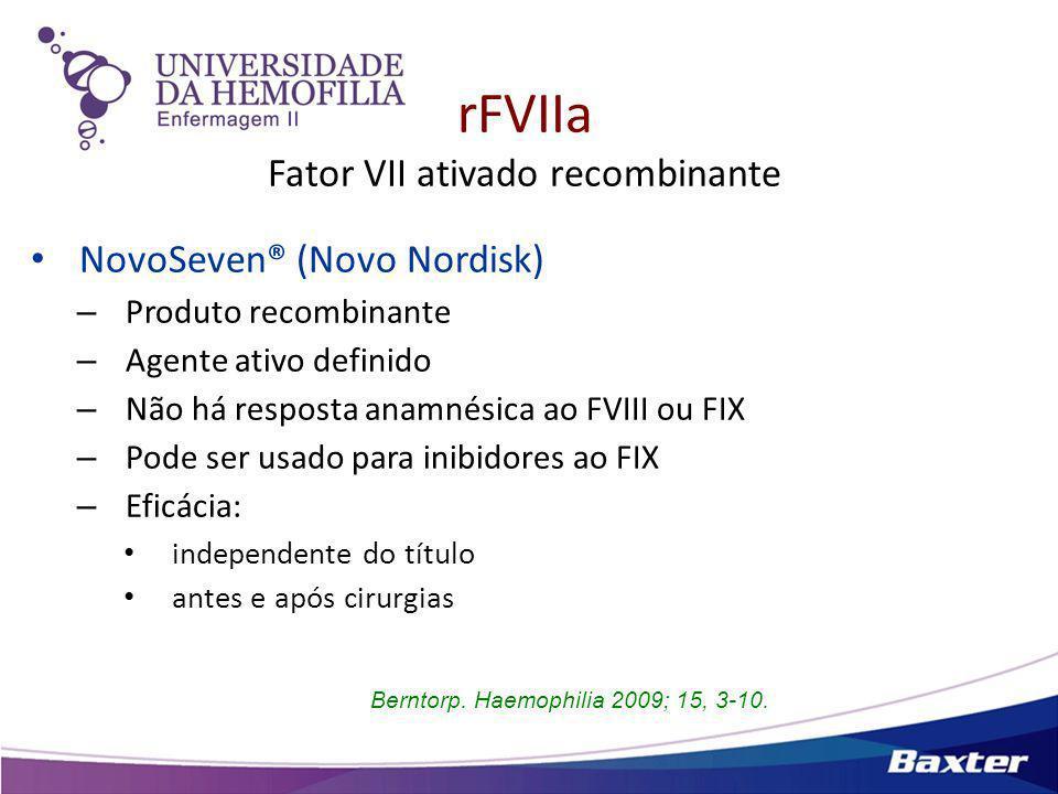 rFVIIa Fator VII ativado recombinante Posologia recomendada – Hemofilia com inibidores 90 μg/kg (90-120 μg/kg) cada 2-3 hs – Hemofilia adquirida 90 μg/kg cada 2-3 hs – Def.
