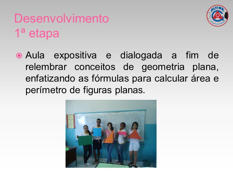 Aula expositiva e dialogada a fim de relembrar conceitos de geometria plana, enfatizando as fórmulas para calcular área e perímetro de figuras planas.