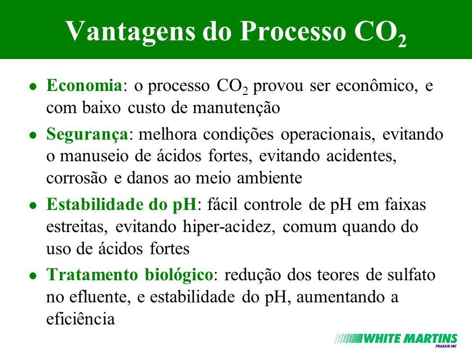 Vantagens do Processo CO 2 l Economia: o processo CO 2 provou ser econômico, e com baixo custo de manutenção l Segurança: melhora condições operaciona