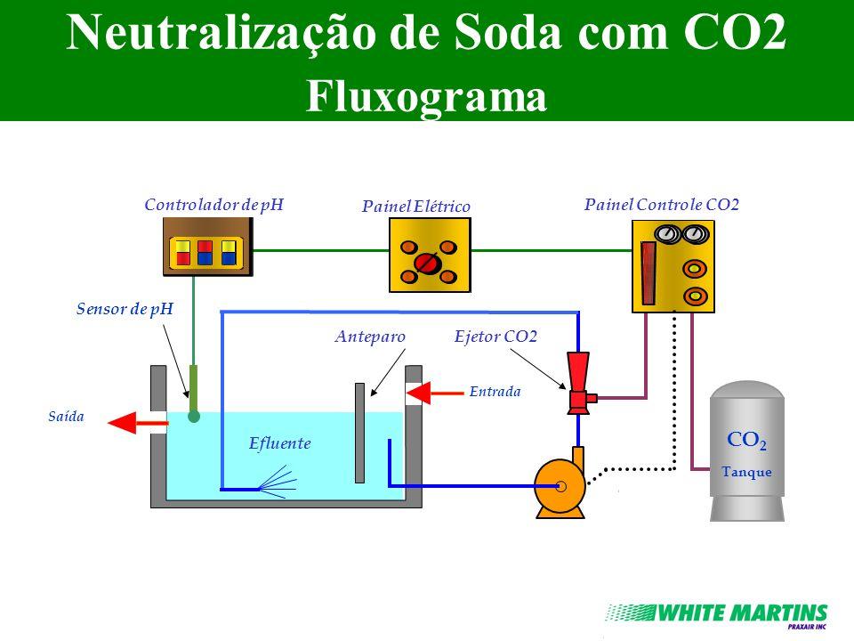 Neutralização de Soda com CO2 Fluxograma Controlador de pH Painel Elétrico Painel Controle CO2 Ejetor CO2Anteparo Efluente CO 2 Tanque Sensor de pH En