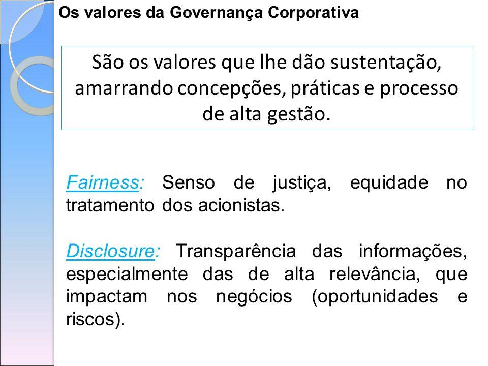 Os valores da Governança Corporativa São os valores que lhe dão sustentação, amarrando concepções, práticas e processo de alta gestão. Fairness: Senso