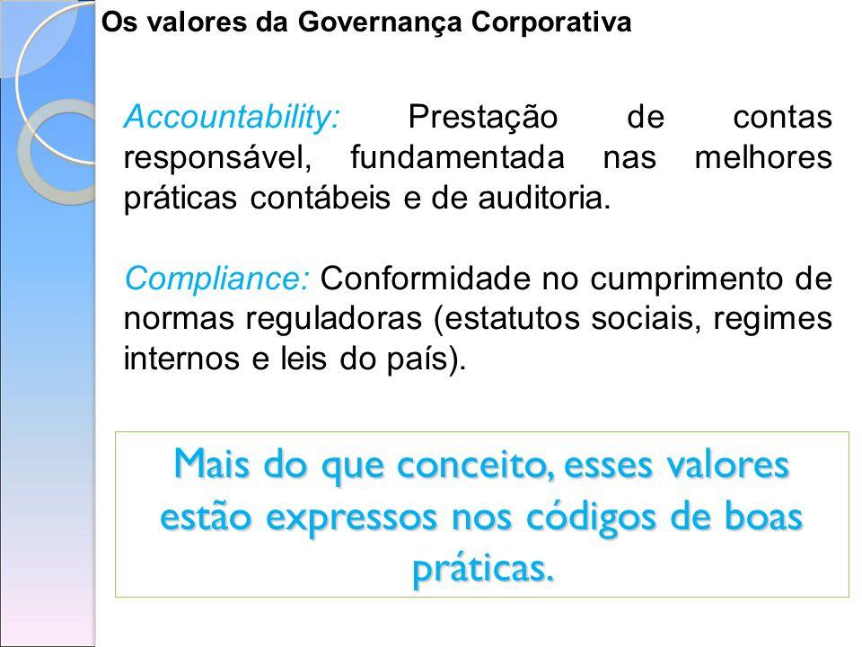 Os valores da Governança Corporativa Accountability: Prestação de contas responsável, fundamentada nas melhores práticas contábeis e de auditoria. Com