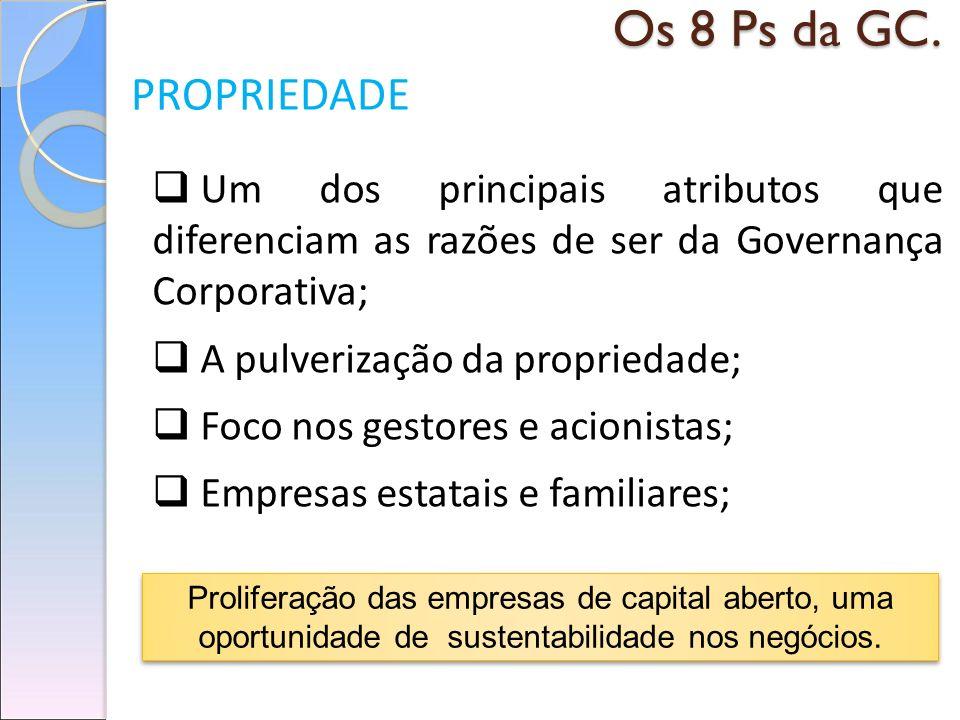 Os 8 Ps da GC. PROPRIEDADE Um dos principais atributos que diferenciam as razões de ser da Governança Corporativa; A pulverização da propriedade; Foco