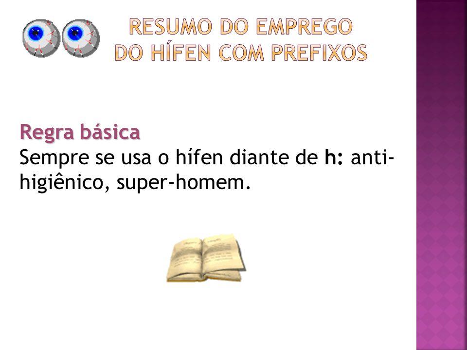 Regra básica Sempre se usa o hífen diante de h: anti- higiênico, super-homem.