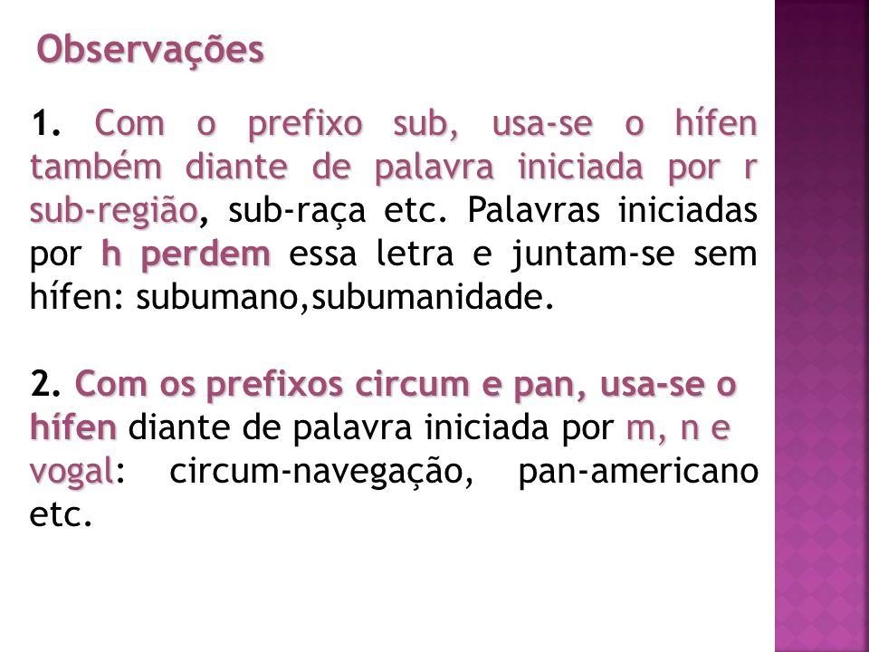 Observações Com o prefixo sub, usa-se o hífen também diante de palavra iniciada por r sub-região h perdem 1. Com o prefixo sub, usa-se o hífen também