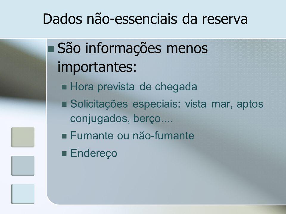Dados não-essenciais da reserva São informações menos importantes: Hora prevista de chegada Solicitações especiais: vista mar, aptos conjugados, berço