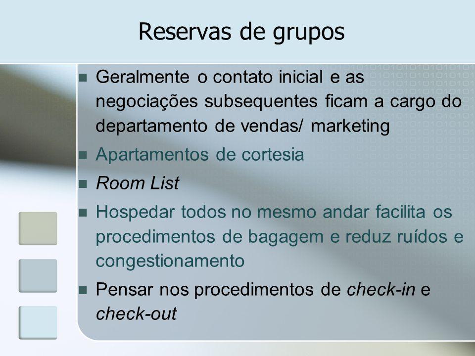 Reservas de grupos Geralmente o contato inicial e as negociações subsequentes ficam a cargo do departamento de vendas/ marketing Apartamentos de corte