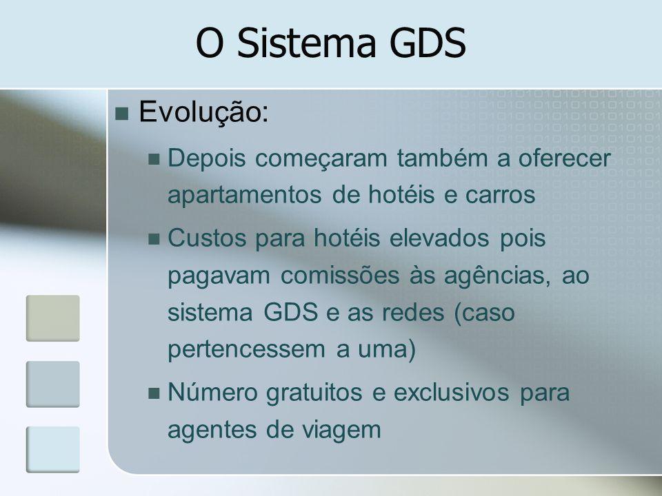 O Sistema GDS Evolução: Depois começaram também a oferecer apartamentos de hotéis e carros Custos para hotéis elevados pois pagavam comissões às agênc