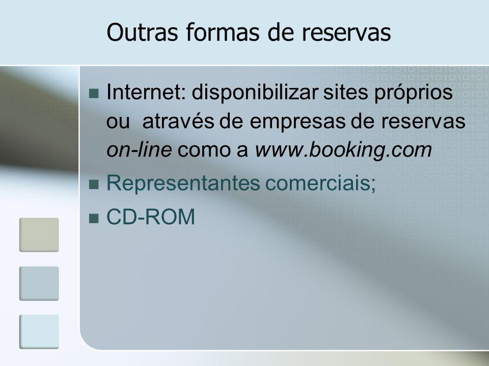 Outras formas de reservas Internet: disponibilizar sites próprios ou através de empresas de reservas on-line como a www.booking.com Representantes com
