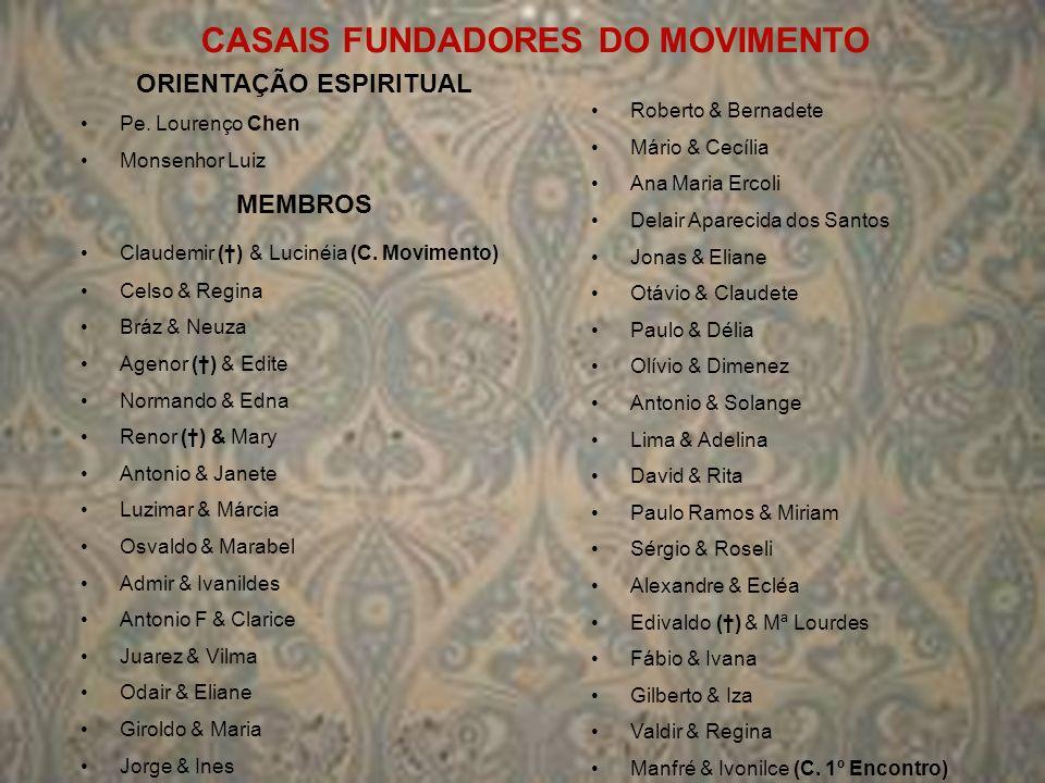 CASAIS FUNDADORES DO MOVIMENTO ORIENTAÇÃO ESPIRITUAL Pe. Lourenço Chen Monsenhor Luiz MEMBROS Claudemir () & Lucinéia (C. Movimento) Celso & Regina Br