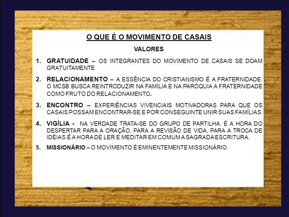 O QUE É O MOVIMENTO DE CASAIS VALORES 1.GRATUIDADE – OS INTEGRANTES DO MOVIMENTO DE CASAIS SE DOAM GRATUITAMENTE 2.RELACIONAMENTO – A ESSÊNCIA DO CRIS