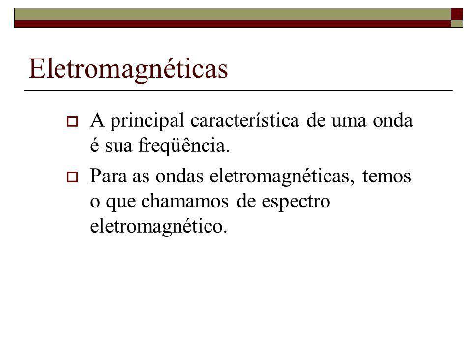 Eletromagnéticas A principal característica de uma onda é sua freqüência. Para as ondas eletromagnéticas, temos o que chamamos de espectro eletromagné