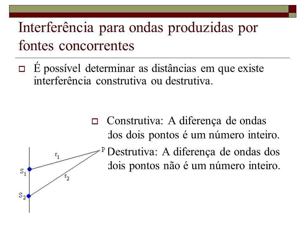 É possível determinar as distâncias em que existe interferência construtiva ou destrutiva. Construtiva: A diferença de ondas dos dois pontos é um núme