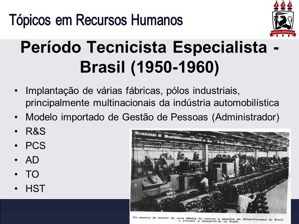 Período Tecnicista Especialista - Brasil (1950-1960) Implantação de várias fábricas, pólos industriais, principalmente multinacionais da indústria aut