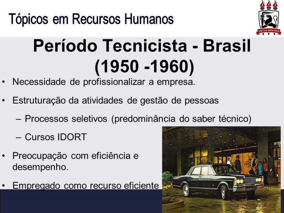 Período Tecnicista - Brasil (1950 -1960) Necessidade de profissionalizar a empresa. Estruturação da atividades de gestão de pessoas –Processos seletiv